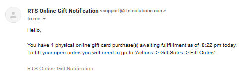 Daily Online Physical Gift Card Purchase Notification
