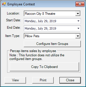Employee Contest Menu